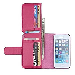 GDW NEW Color Leather Wallet Full Body Cases with Stand for iPhone 5/5S(Assorted Colors) , Rosa vivo