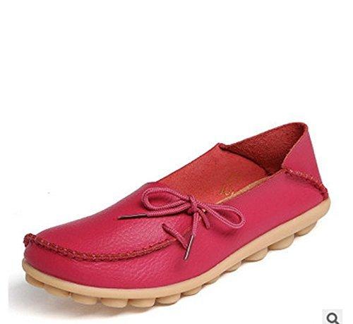 Hee Grote Dames Leren Instappers Loafer Flats Pumps Rose 8 B (m) Us