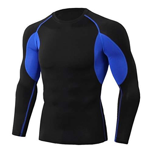 Emimarol Men Blouse Workout Long Sleeve Fitness Sports Running Yoga Athletic Shirt Top Blouse Blue