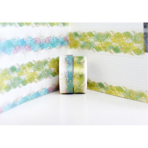 Gold Washi Tape Set of 2 Rolls - Unique design Gold Colorful Sea Wave Decorative DIY Japanese Masking Adhesive Sticky Paper Washi Tape Set (width: 15mm)