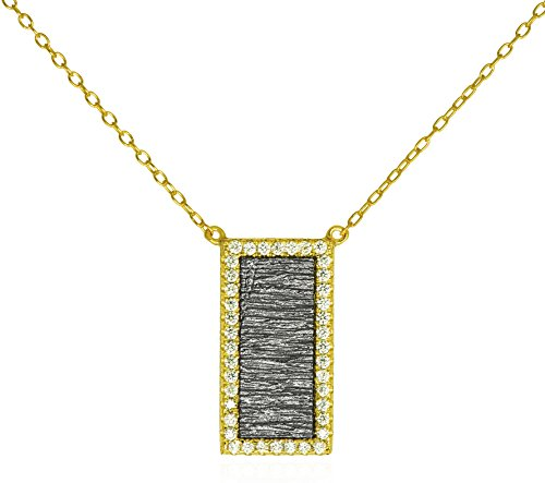 - Inlay CZ Rectangle Pendant Necklace .925 Sterling Silver Gold Tone Chic Textured Oxidized Silver