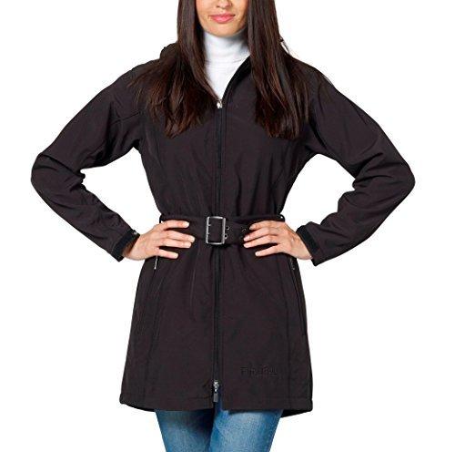 Softshell Damen-Mantel Kurz-Mantel schwarz von - Fifty Five - mit FIVE-TEX Membrane für Outdoor-Bekleidung