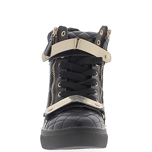 7cm de tacón cuña con levantamiento negro de Zapatillas de 8xwBnqZUC7