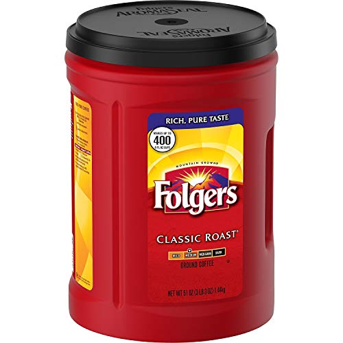 (Folgers 4-Pack of 48 Ounce Canisters, Classic Medium Roast Coffee)