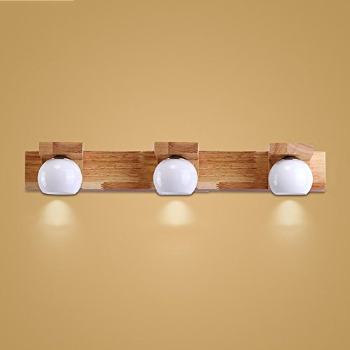 CGJDZMD Post-Modern Solid Wood LED Wall Lamp Modern Simple Bedroom Lamp Wall Sconce for Aisle Corridor Living Room Bathroom Mirror Light Oak Bathroom Wall Light ( Size : Three heads )