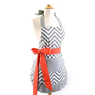 Women's Fashion Original Cotton Big Bowknot Apron Cooking Kitchen Aprons with Pocket (Pattern1)