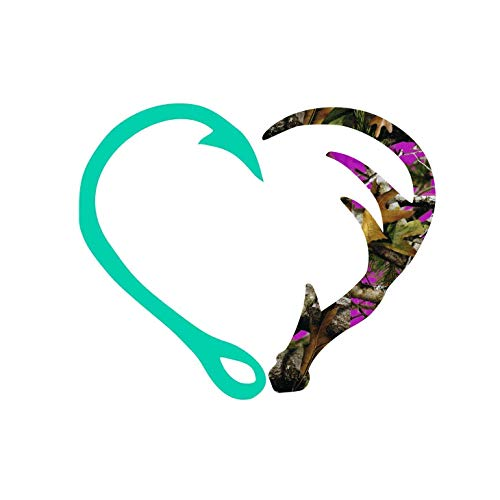 Fishing Hunting Heart Decal with Pink Camo for Car, Cup or Laptop - 3.25 inches