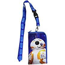 "Star Wars ""The Force Awakens"" Storm Trooper Keychain Lanyard Id Ticket Holder for Most Phones- Black (BLUE-BB8)"
