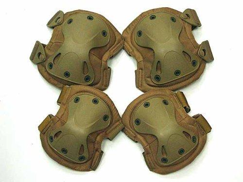 FIRECLUB Airsoft SWAT X-Cap Airsoft Paintball Knee & Elbow Pads Desert Tan (Knee Tactical Swat Pads)