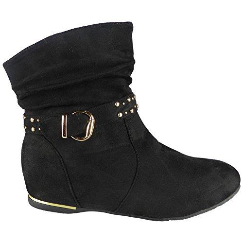 Neue Frauen Schnalle Niedrig Hacke Keil Knöchel Stiefel Größe 36-41 Schwarz