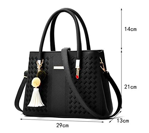 Color with Woven Pu Handbag Bag 8 Rubber Pendant Red Shoulder Ladies 1dqExg