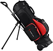 Golf Stand Bag for Men Women 6 Way Dividers Golf Bag with Wheels Portable Golf Bag Stand for Traveling The Dri