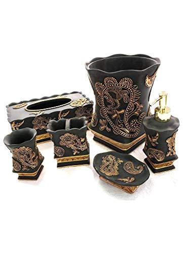 Empire Home Elegant 6 Piece Bathroom Ceramic Accessory Set - Limited Quantity Available! (Black & Gold) ()