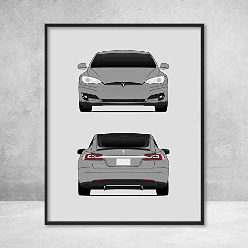 Tesla Model S Front and Rear View (Tesla Motors) Poster Print Wall Art Decor Handmade 40 60D 70D P85 P90D P100D ()