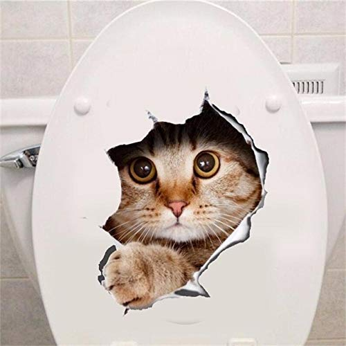 Best Quality Hole View Vivid Cats Dog 3D Wall Sticker Bathroom Toilet Living Room Kitchen Decoration Animal Vinyl Decals Art Sticker Poster ()