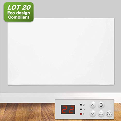FUTURA Eco 1500W Electric Panel Electric Heater Bathroom Safe Setback Timer Lot 20 & Advanced Thermostat Control Wall Mounted or Floor Standing Low Energy Electric Heater (1500W)