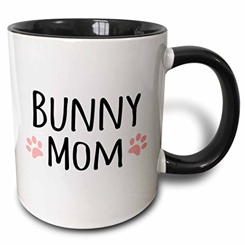 3dRose 3dRose Bunny Mom - for female rabbit lovers and girl pet owners - with cute girly pink paw prints - Two Tone Black Mug, 11oz (mug_154044_4), , Black/White