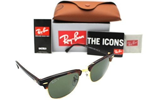 Ray-Ban Authentic Clubmaster RB 3016 990/58 49mm Havana / Green Polarized - Clubmaster 49mm Ray 3016 Ban