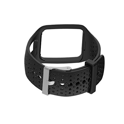 Pinkashop Repalcement Bands for TOMTOM Runner1 /Multi Sport/Cardio band Silicone Sport Band Accessory Bracelet Wristband Strap for TomTom Runner GPS Watch (Black) (Black)