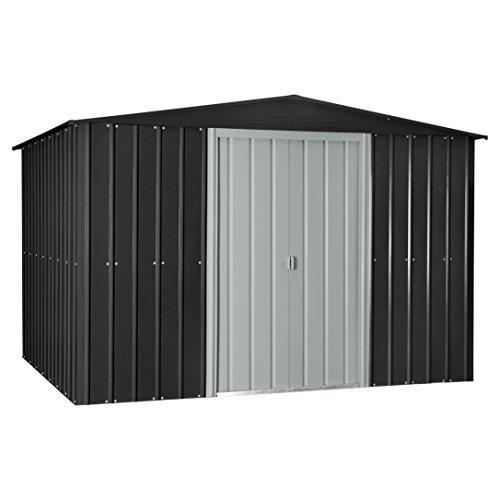 Aluminum Storage Sheds (Globel 10x8 Gable Steel Storage Shed Slate Grey and Aluminum White)