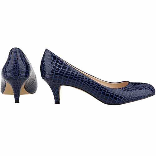On Office Women's Print Crocodile Toe Blue Crocodile Shoes Simple Slip Pumps fereshte Heel Casual Round Kitten vwxnP
