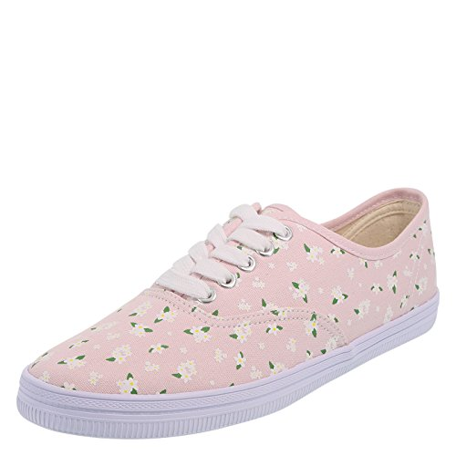 (city sneaks Light Pink Floral Women's Classic Bal Sneaker 7.5 Regular)
