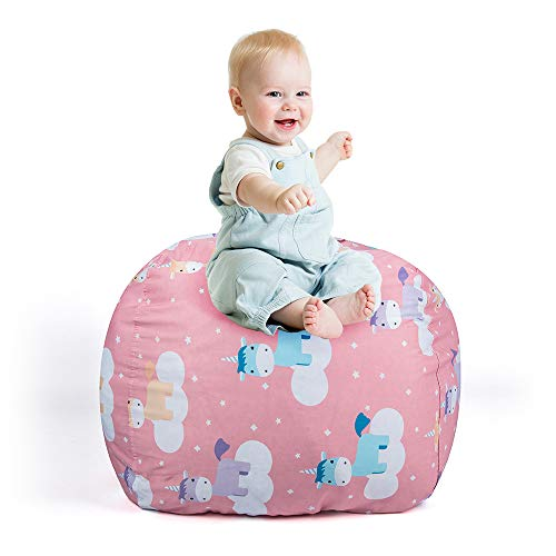 (STTIAO Kids Stuffed Animal Storage Bean Bag with Carrying Handle Sturdy Cotton Bean Bag Cover Perfect for Toys and Clothes Kids Gift (Size 26'', Unicorn, Cover ONLY))