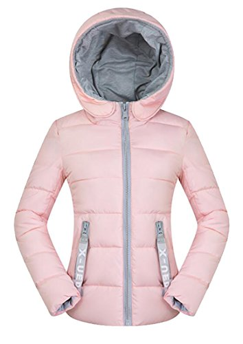 MU2M Women's Casual Plus Size Quilted Hooded Short Puffer Padded Coat Pink US M