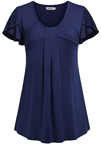 Loose Shirts for Women,Tencole Plus Size Royal Blue Top Short Sleeve Comfy Tunic