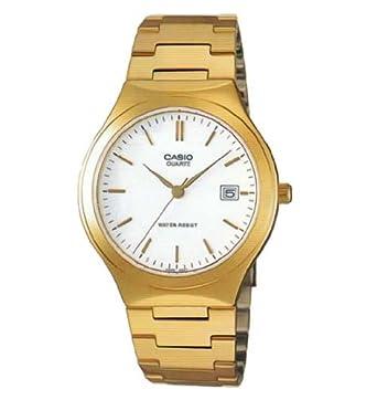 amazon com casio mens stainless steel analog watch gold w white casio mens stainless steel analog watch gold w white dial batons mtp 1170n