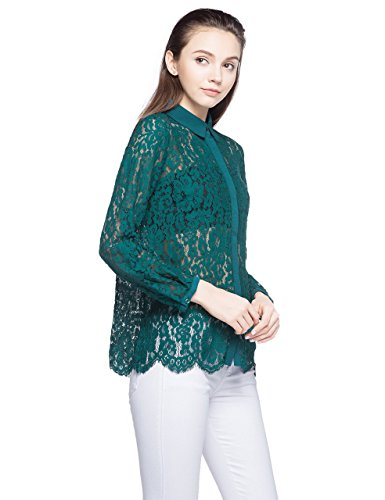 ZLYC Women's Semi Sheer Full Lace Casual Long Sleeve for sale  Delivered anywhere in Canada