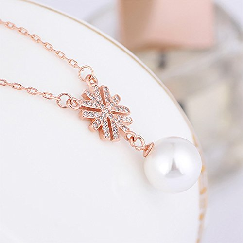 Glamorousky Elegantly Plated Rose Gold Snowflake Necklace with White Fashion Pearl 24122