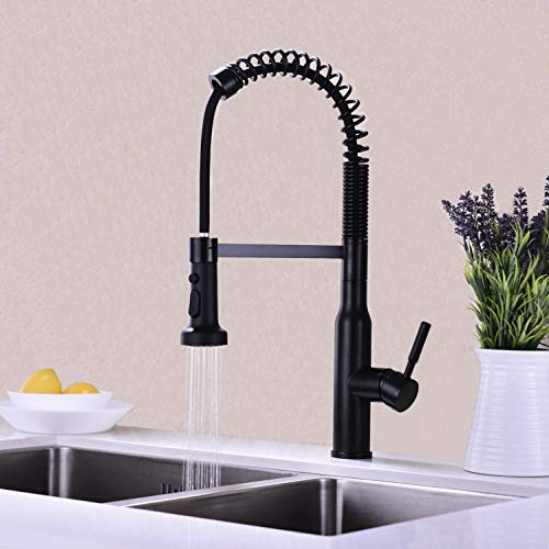 Kmeino Single Handle High Arc Matte Black Pull out Kitchen Faucet,Single Level Kitchen Sink Faucets with Pull down Sprayer