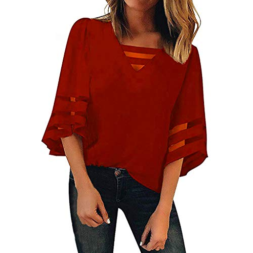 - AIEason Women's Sexy Mesh Perspective T-Shirt Fashion Summer O-Neck Elegant Lace Long Sleeve Blouse Top Wine