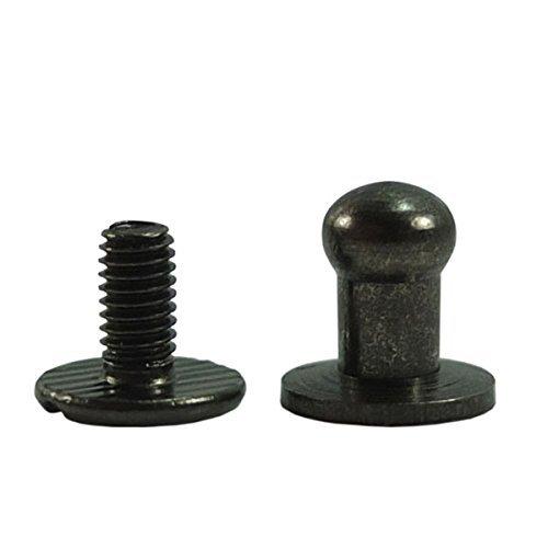 Head Button 5mm Brass Stud Screwback Screw Back Spots for Leather Rivet 100 Sets (Gun Black)