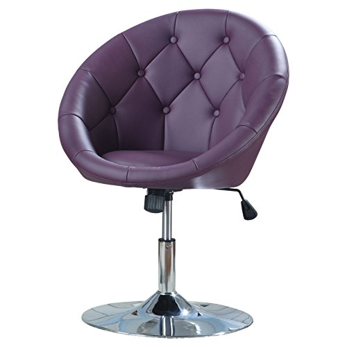 Accent Chair, Purple Leatherette, Button Tufted Back, an Adjustable Lever for Height, Swivel Function, Purple Leatherette with a Chrome Finish, Metal, Vinyl + Expert Guide ()