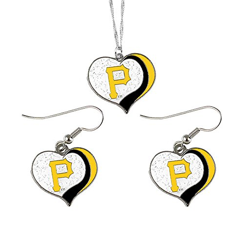 aminco Pittsburgh Pirates MLB Sports Team Logo Charm Gift Glitter Heart Necklace and Earring ()
