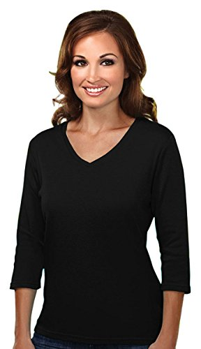 Tri Mountain Womens Cotton Interlock 3 4 Sleeve V Neck Knit  131   Black Xl
