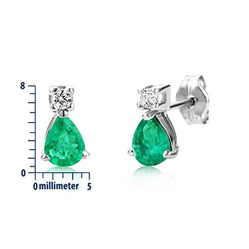 Miore - MA964ZE - Boucles d'Oreilles Femme - Or Blanc 375/1000 (9 carats) 0.75 gr - Émeraude