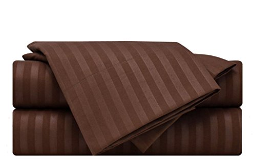 (ARlinen Sheet Set King Size Chocolate Stripe Fit Mattress up to 15 Inch Deep Pocket Egyptian Cotton 400-Thread-Count Premium Quality 4 PCs Bedding Bed Sheet Sets.)