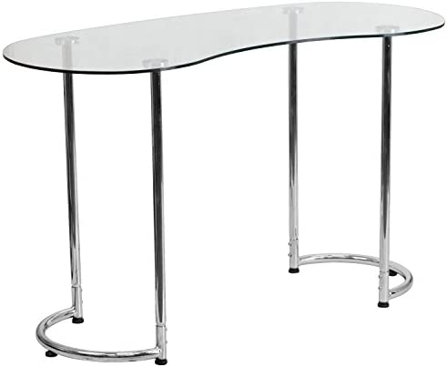 Flash Furniture Contemporary Desk with Curvaceous Clear Tempered Glass