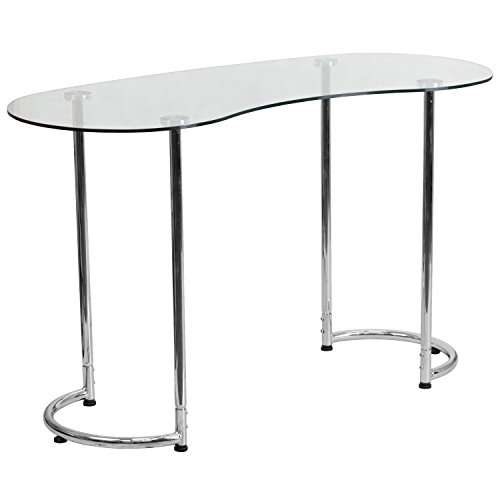 Flash Furniture Contemporary Desk with Clear Tempered Glass