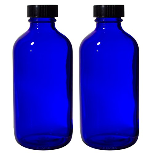 - 8 oz Cobalt Blue Glass Boston Round Bottle with Black Phenolic Cone Lined Caps (2 Pack) + Labels