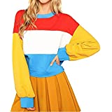 OCEAN-STORE Women Cut Sew Oversized Sweatshirt Color Block Striped Pullover Sweaters Long Sleeve Crop Shirts Top Blouse