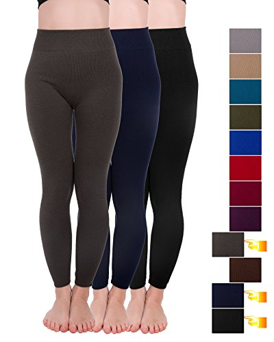 Homma 3 Pack Extra-Thick French Terry Thermal Leggings (Small/Medium, Black,Navy,D.Grey)