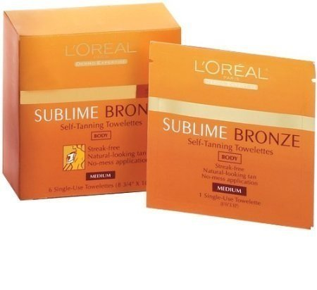 Loreal Tanning - L'Oreal Paris Sublime Bronze Self-Tanning Body Towelettes, 6 Count (Pack of 2)