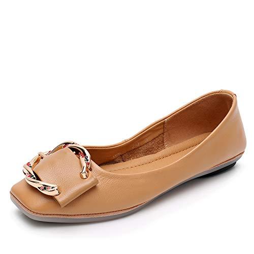 FLYRCX Zapatos Casuales de Cuero de la Boca Baja Zapatos Casuales de Las señoras Zapatos Planos Antideslizantes Suaves y cómodos Zapatos de Trabajo A