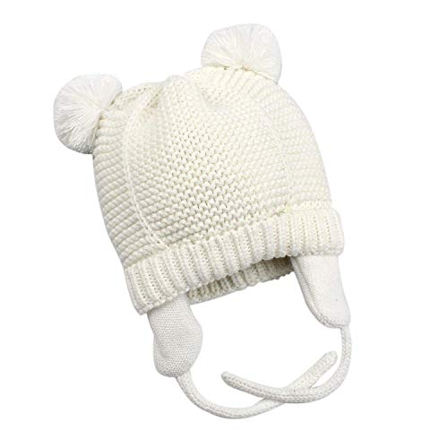 Wander G Baby Beanie Infant Earflaps Hat Cute Bear Toddler Boys Girls Soft Warm Knit Crochet Hat for Fall Winter(S/0-6 Months, White)