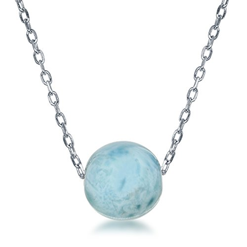 Sterling Silver 16 + 2 Natural Larimar 8mm or 10mm Stone Bead Necklace
