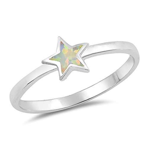 White Simulated Opal Star Inlay Dainty Cute Ring Sterling Silver Band Size 8 ()
